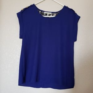 Tops - 🌞Royal blue blouse with decorative gold buttons🌞